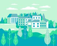 Village landscape flat vector illustration. Buildings, hills, la. Ke, flowers and trees, abstract background for header images for websites, banners, covers royalty free illustration