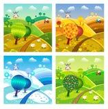 Village landscape. Four seasons. Stock Photos