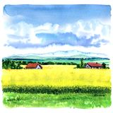 Village landscape with green field and country houses, hand drawn watercolor illustration. Beautiful village landscape with green field and country houses, hand stock images