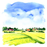 Village landscape with green field and country houses, watercolor illustration Stock Photo