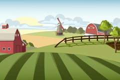 Village landscape with mill and farms. Village fields with mill and farms Stock Photo