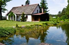 Pastoral rural house in northern Poland stock photos