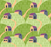 Village landscape pattern Stock Images