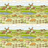 Village landscape. Seamless background. Vector illustration for your projects Stock Image