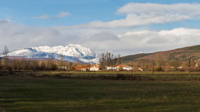 Village Landscape Snowy Mountains Royalty Free Stock Image