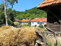 Village landscape with straw and wheat barn Royalty Free Stock Photos