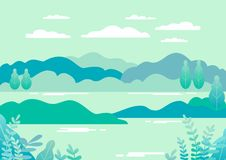 Village landscape in trendy flat and linear style vector illustr. Ation. Mountains and hills, lake, flowers and trees, abstract background with copy space for vector illustration