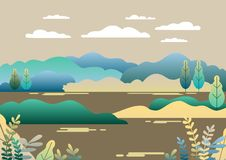 Village landscape in trendy flat and linear style vector illustr. Ation. Mountains and hills, lake, flowers and trees, abstract background with copy space for stock illustration