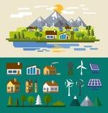 Village landscape. Vector color Village and landscape flat illustration Stock Photography