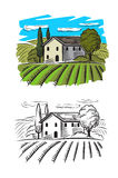 Village and landscape. Vector doodle image of village and landscape Royalty Free Stock Photo