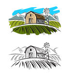 Village and landscape. Vector doodle image of village and landscape Royalty Free Stock Photography