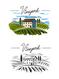 Village and landscape. Vector doodle image of village and landscape Stock Photos