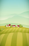 Village Landscape. Vector illustration of little village landscape with fields Royalty Free Stock Image