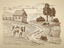 Village and landscape Stock Images