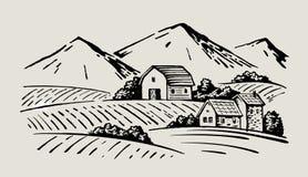 Village and landscape. Vector image of village and landscape farm Stock Image