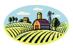 Village and landscape. Vector image of village and landscape farm Stock Photography