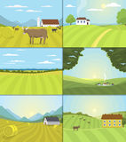Village landscapes vector illustration farm field and houses agriculture graphic country side. Grunge farmhouse outdoor road season scene horizon organic Stock Image