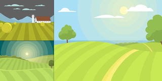 Village landscapes vector illustration farm field and houses agriculture graphic country side. Grunge farmhouse outdoor road season scene horizon organic Royalty Free Stock Images