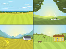 Village landscapes vector illustration farm field and houses agriculture graphic country side. Grunge farmhouse outdoor road season scene horizon organic Stock Photos