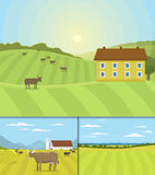Village landscapes vector illustration farm house agriculture graphic countryside Stock Photography