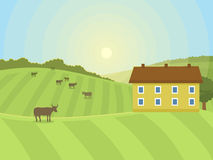 Village landscapes vector illustration farm house agriculture graphic countryside Royalty Free Stock Image