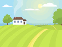 Village landscapes vector illustration farm house agriculture graphic countryside Stock Images