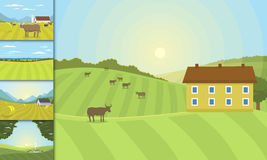 Village landscapes vector illustration farm house agriculture graphic countryside Royalty Free Stock Photos