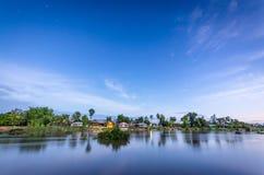 Village in Laos on Don Det island. Sunset royalty free stock photo