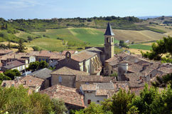 Village of Lautrec in France. Aerial view of village Lautrec with its church in southern France. Midi-Pyrénées region, Tarn department Stock Photography