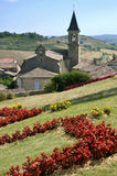 Village of Lautrec in France. Village Lautrec with its church in southern France. Midi-Pyrénées region, Tarn department Royalty Free Stock Image