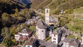 Village Lavertezzo Valley Verzasca Ticino Switzerland Aerial 4k