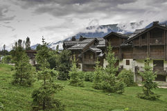 The village of Le Praz, close to the Vanoise NP Stock Photos