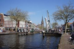 The village of Leidschendam in the Netherlands. The village of Leidschendam in the province of South Holland, with a sluice in a canal called The Vliet Stock Photography