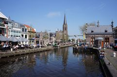 The village of Leidschendam in the Netherlands. The village of Leidschendam in the province of South Holland, with a sluice in a canal called The Vliet Royalty Free Stock Image