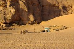 Village in Libyan desert Stock Photo
