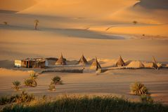 Village in the Libyan desert Stock Photo