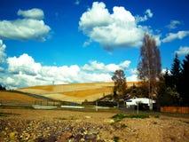 Village life. Cloudy day. Village life, Cloudy day. Meadow. Field. Photo taken in the Czech Republic Royalty Free Stock Photography