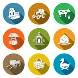 Village life Icons Set. Vector Illustration. Royalty Free Stock Images