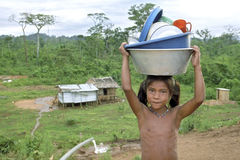 Village life of Indian girl, Coco River, Nicaragua Royalty Free Stock Photos