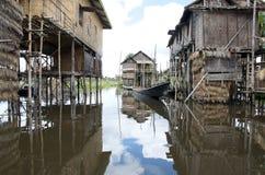 Village life on inla lake. Burma Royalty Free Stock Images
