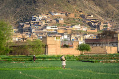 Village Life KPK Pakistan. A farmer returning home after a days work in a Village in Swat KPK Pakistan Stock Photography
