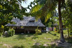 Village life on a south pacific island. Small village located on the tropical atoll of Fanning Island located in the south pacific in the Kiribati Islands stock photo