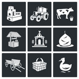 The village life Vector Icons Set Royalty Free Stock Photos