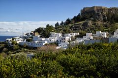 The village of Lindos, Rhodes, Greece royalty free stock image