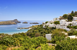 Village of Lindos at Rhodes island, Greece Stock Photo
