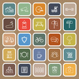 Village line flat icons on brown background Stock Photos