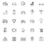 Village line icons with reflect on white background Stock Photos