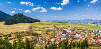 Village Liptovsky Jan in Slovakia. View from lookout over village Liptovsky Jan in Slovakia. Beautiful landscape and blue sky royalty free stock photos