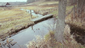 Village in Lithuania. River, tree and wooden bridge in autumn stock video
