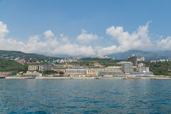 The village of Livadia on the Black sea. Modern resorts and hotels of the resort. Yalta, Crimea, Russia stock photos